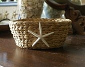 Basket - starfish - organizer - coastal decor - beach decor - seashells