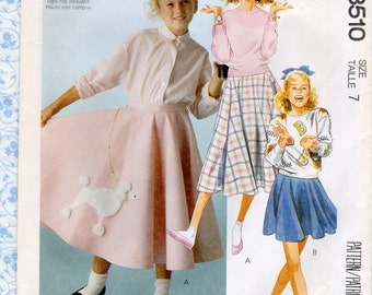 McCall's 3510 Girls Circle Skirt Sewing Patterns Costume With Poodle Applique 1950s Style Childrens Size 7 Waist 23 Hip 27