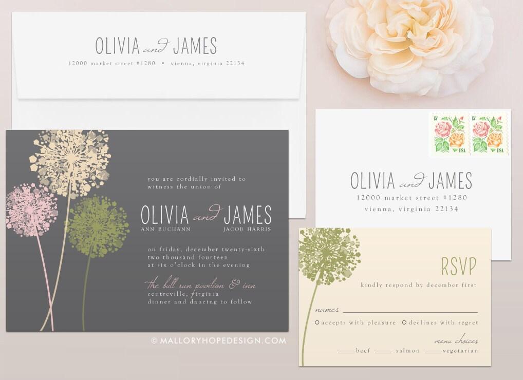 dandelion wedding invitation rsvp set by malloryhopedesign