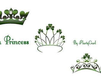 Irish Princess Clip Art / St. Patricks Day / Digital Clip Art / Tiaras and Crowns