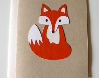 FOX Card, Recycled, Blank Inside - Greeting Card, Woodland Fox, Ecofriendly Card