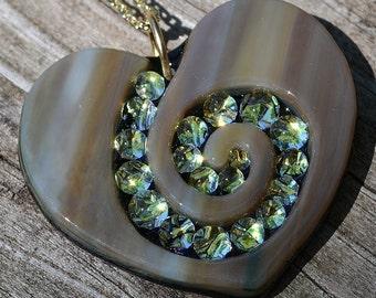 Steph Glass Dichroic Mojave Spiral Heart Pendant, Fused Glass Necklace, StephGlass Original Art
