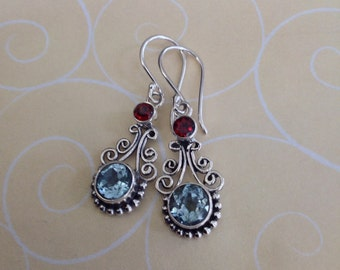 Aquamarine Birthstone earrings, birthstone gem earrings,Garnet earrings, birthstone jewelry,Blue topaz earrings,blue earrings, gift