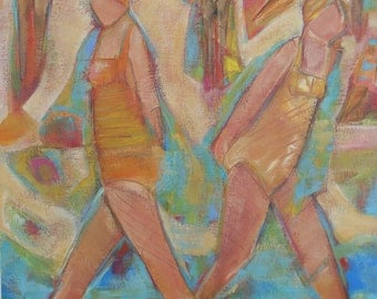 """Original Acrylic Beach Painting """"In a Hurry to Relax"""" 18""""x14"""""""