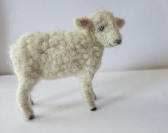 white lamb needle felted