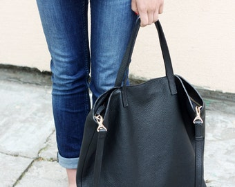 DOMI - Top Zip Black Leather Tote Bag