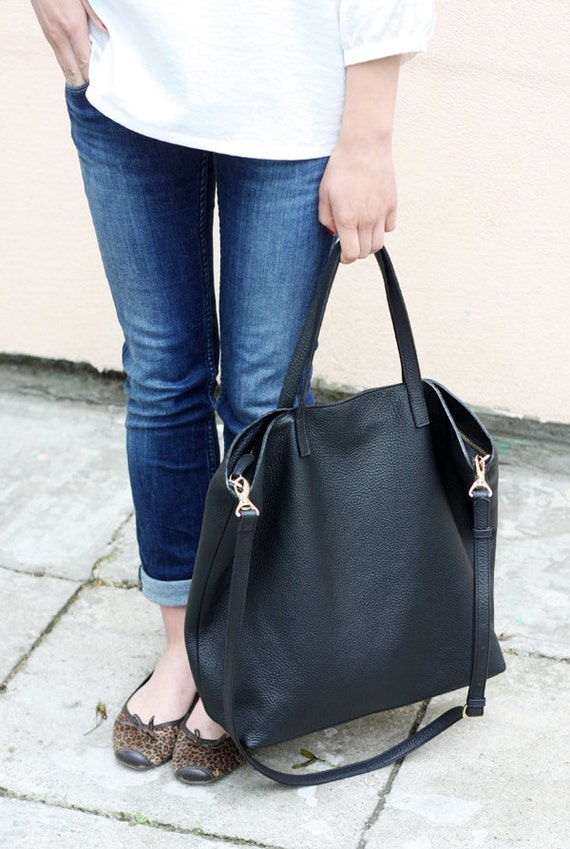DOMI Top Zip Black Leather Tote Bag