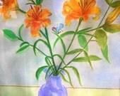 Print Of Original Watercolor Lily Orange painting,watercolor art,watercolor print,flower painting,home decor wall art,