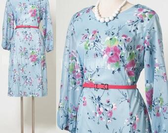 Vintage 60s Dress, Mad Men, Vintage Blue dress,Vintage floral dress, Pink floral Dress, 60s shift dress - L/XL