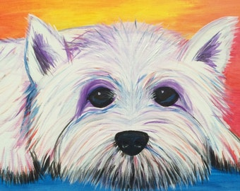 Abstract West Highland Terrier Painting