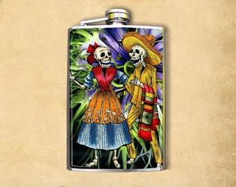 Skeleton Couple 8oz Flask