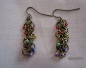 Brass Rainbow Chainmaille Earrings