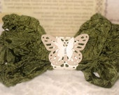 Crinkled Seam Binding Ribbon~Olive Green~ Used for Crafts, Scrapbooking, Card Making, Altered Art, Gift Wrap, Sewing ECS