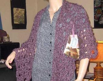Plummy Purple Right Angle Homespun Shawl