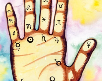 Astrology Hand---> Watercolor Art, Archival Print, Palm, Planets, Zodiac, Psychic, Celestial, Moon