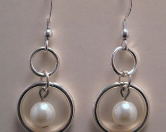 Silver Circle French Hook Earrings with Pearl Beads