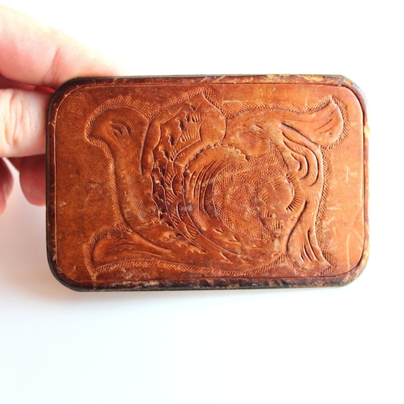 vintage leather belt buckle tooled leather belt buckle