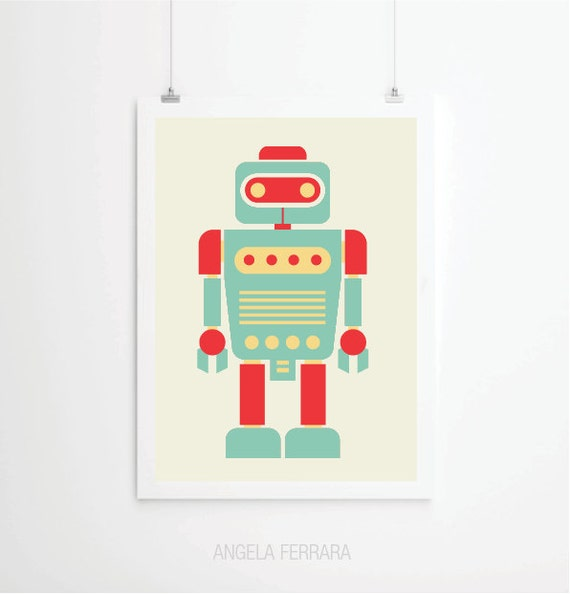 Items Similar To Affiche Retro Robot D Coration Pour Enfants L 39 Art Chambre Enfants Gravures