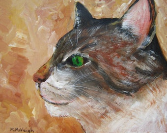 Original Oil Paining of a Pussycat