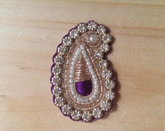 Handmade Gold & Purple Indian Paisley Applique 60mm/2.3 inches