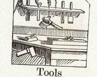 Tools Mennonite Children's Picture Dictionary 1890 Vintage Victorian Engravings Great For Scrapbooking 60