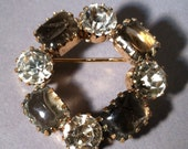 Vintage 60's Madmen, Smokey Gray & RHINESTONE BROOCH, Prong Set Circle Pin
