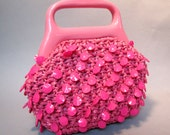 Hot PINK 1960's MOD Handbag, 1970's Straw with Lucite PLASTIC Beads Purse, So Kawaii