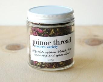 Organic Assam Black Tea with Spearmint and Red Rose Petals Herbal Tea Blend