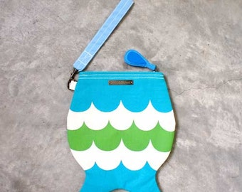 SALE - Wristlet - The Little Mertail Wristlet (Turquoise and Apple Green)