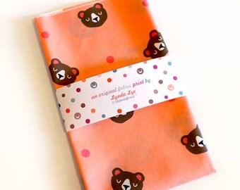 Fat Quarters, BEARS fabric print, quilting weight fabric, polka dots fabric, bear print, bear fabric, peach color fabric, Honey Bears