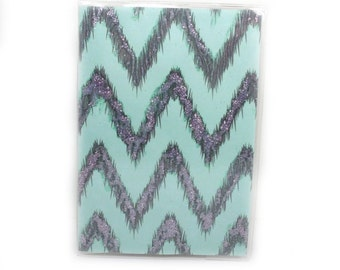 Passport Cover - Chalky Turquoise Sky - retro glam pale aqua blue and silver sparkle chevrons - passport holder - ikat zigzags - travel gift