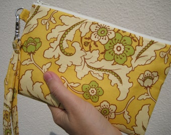Wedding Clutch 2 pockets,medium,yellow,flowers, wristlet, cotton - Floral bouquet gold