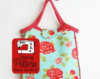 Granny Tote PDF Sewing Pattern | Intermediate sewing project to make a bound top tote or project bag.