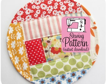 Patchwork Coasters PDF Sewing Pattern | Sewing Pattern for Fabric Scraps
