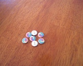 Rainbow Twirl Wood Buttons, set of four - white wood with colorful rainbow design, 15mm, light, great for knitwear