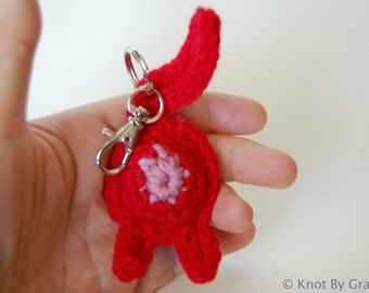 Cat Butt Crocheted Keychain or Ornament - Valentine's Red