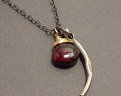 SALE Thorn, Garnet, 14k Gold Fill, Sterling Silver, Mixed Metals Necklace, erinelizabeth