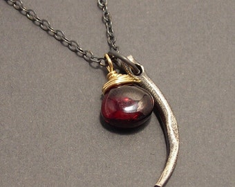 Thorn, Garnet, 14k Gold Fill, Sterling Silver, Mixed Metals Necklace, erinelizabeth
