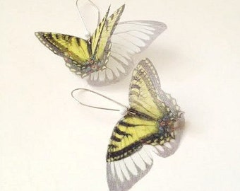 Yellow Tigertail Butterfly  Earrings
