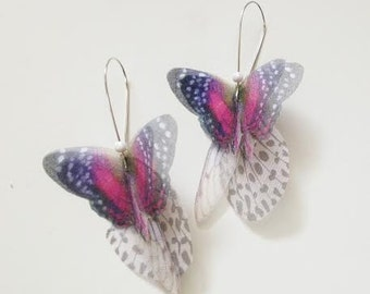 Butterflies all Over Organza Earrings Hot Pink Pair