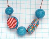 Beaded Necklace Large Chunky Beads turquoise red orange