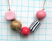 Beaded Necklace large chunky pink black and white stripes wood gold