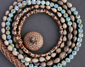 long beaded necklace with natural seeds, wood and glass beads - bohemian jewelry - wood necklace - ethnic style