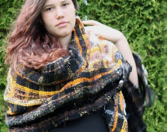 Calico, a Large Wrap in orange black and white
