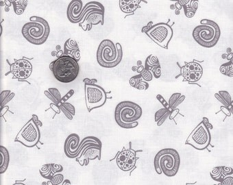 Half yard - White Garden Friends - Wee Gallery - Dear Stella cotton quilt fabric
