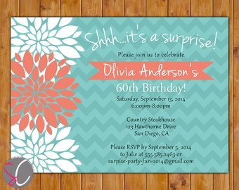 Teal Coral Surprise Birthday Invitation Floral Burst Invite 40th 50th 60th Milestone Adult Birthday 5x7 Digital JPG DIY Printable (332)