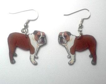 Handcrafted Plastic Bulldog Earrings