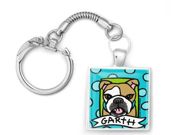 Your Pet Portrait on a Silver Key Ring Chain