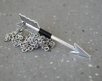 Men's Arrow Necklace - Silver Arrow Necklace - Arrow Jewelry - black wire wrapped arrow necklace - Sagittarius necklace