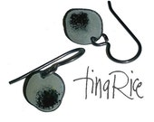 Charcoal Grey and Black teeny tiny drops artisan enamel earrings by tina rice